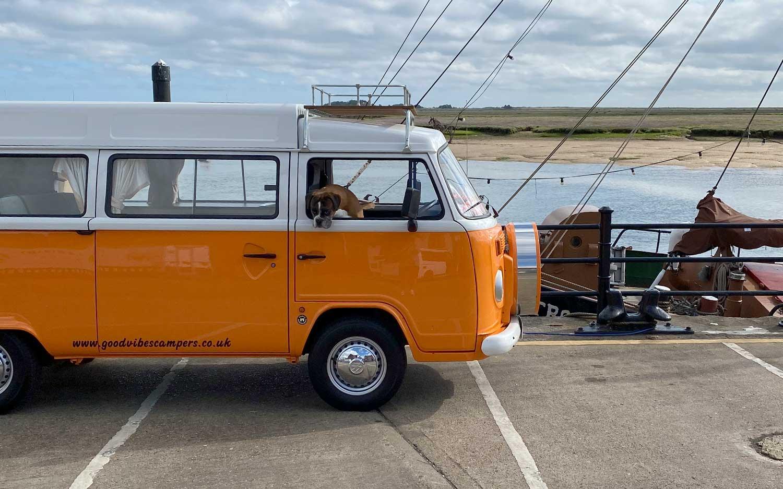 Jasmine the VW Campervan on location in Norfolk