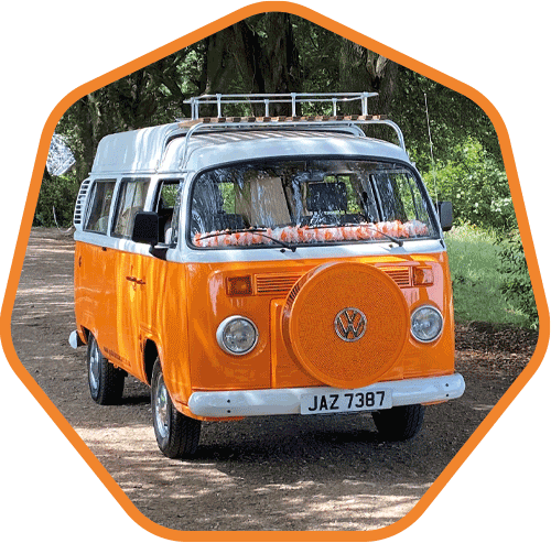 Leicestershire T2 VW campervan in orange and white