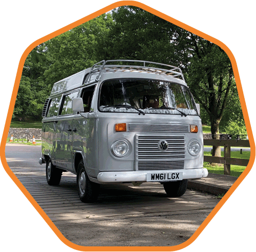 Pebble, one of our type 2 VW campervans
